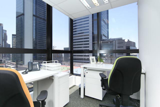 Corner office with city view